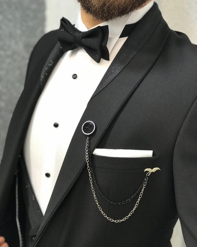 Black Slim Fit Tuxedo by Gentwith.com with Free Shipping