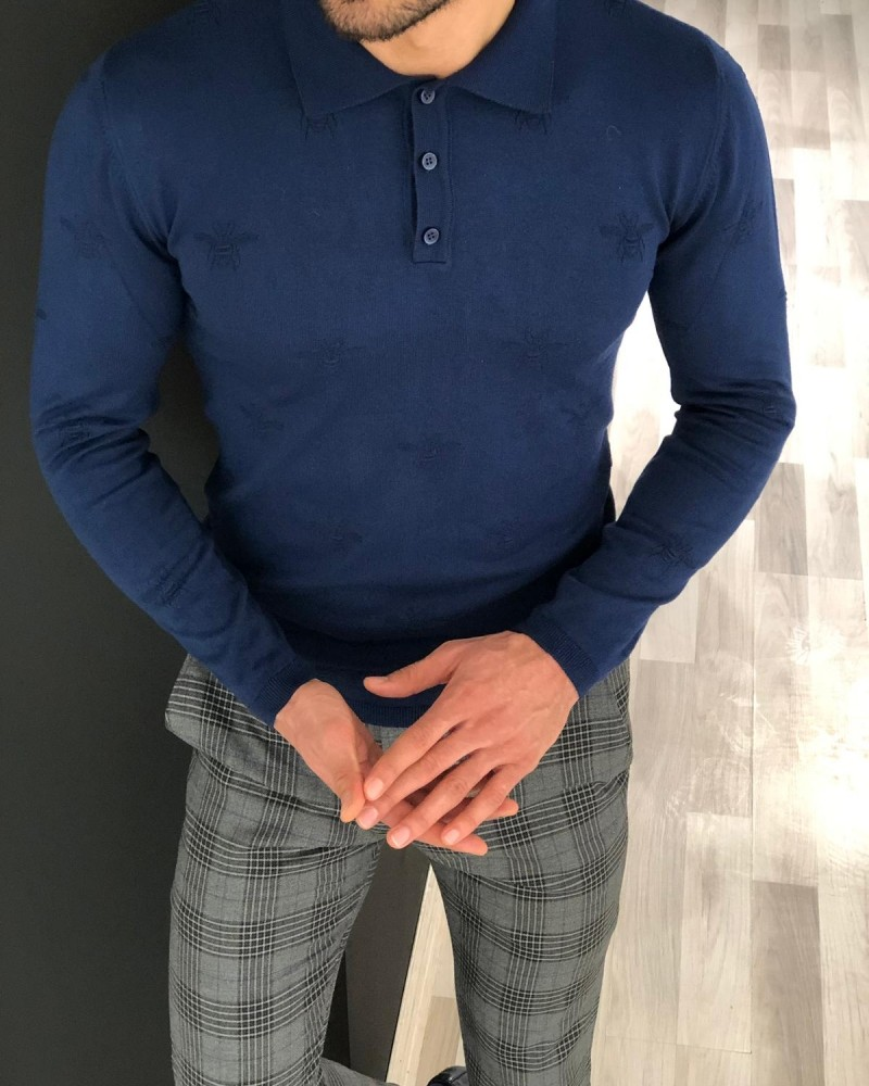 Indigo Slim Fit Sweater by Gentwith.com with Free Shipping