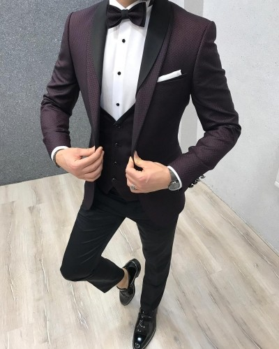 Claret Red Slim Fit Tuxedo by Gentwith.com with Free Shipping
