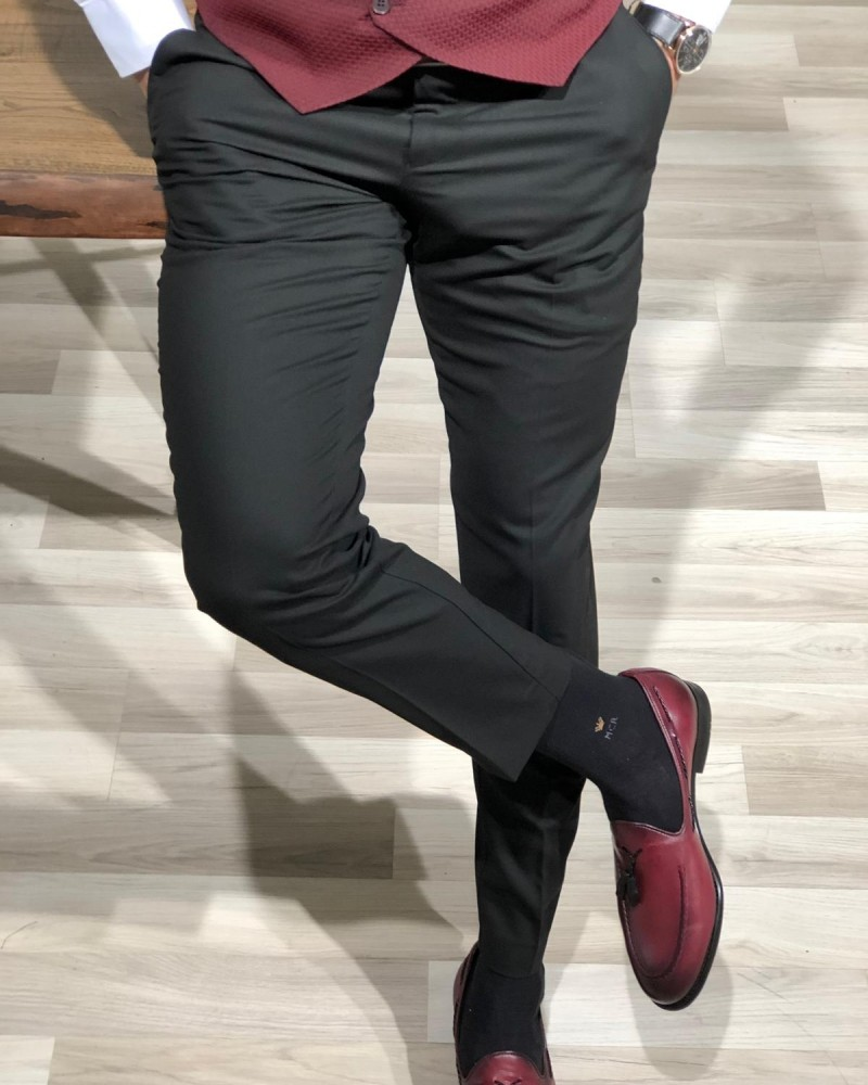 Black Slim Fit Pants by Gentwith.com with Free Shipping