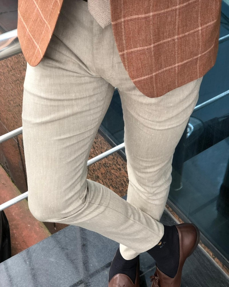 Beige Slim Fit Pants by Gentwith.com with Free Shipping