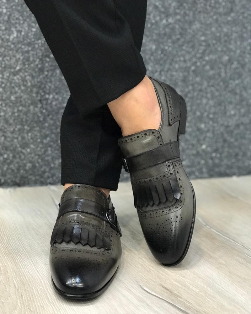 Gray Leather Shoes by Gentwith.com with Free Shipping