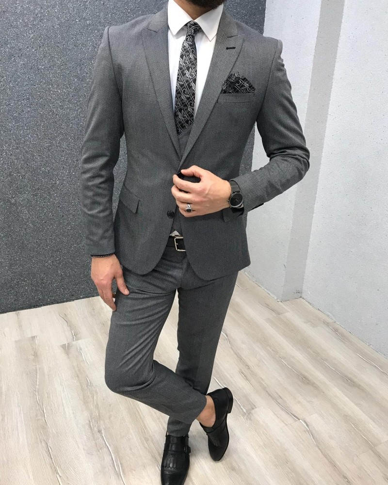 Gray Slim Fit Wool Suit by Gentwith.com with Free Shipping