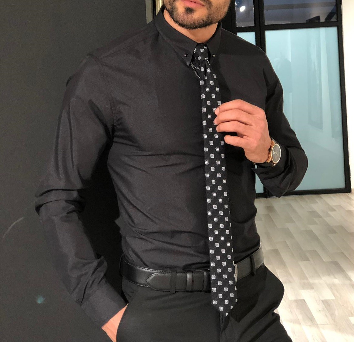 Buy Black Chain Collar Slim Fit Shirt by Gentwith com with Free Shipping
