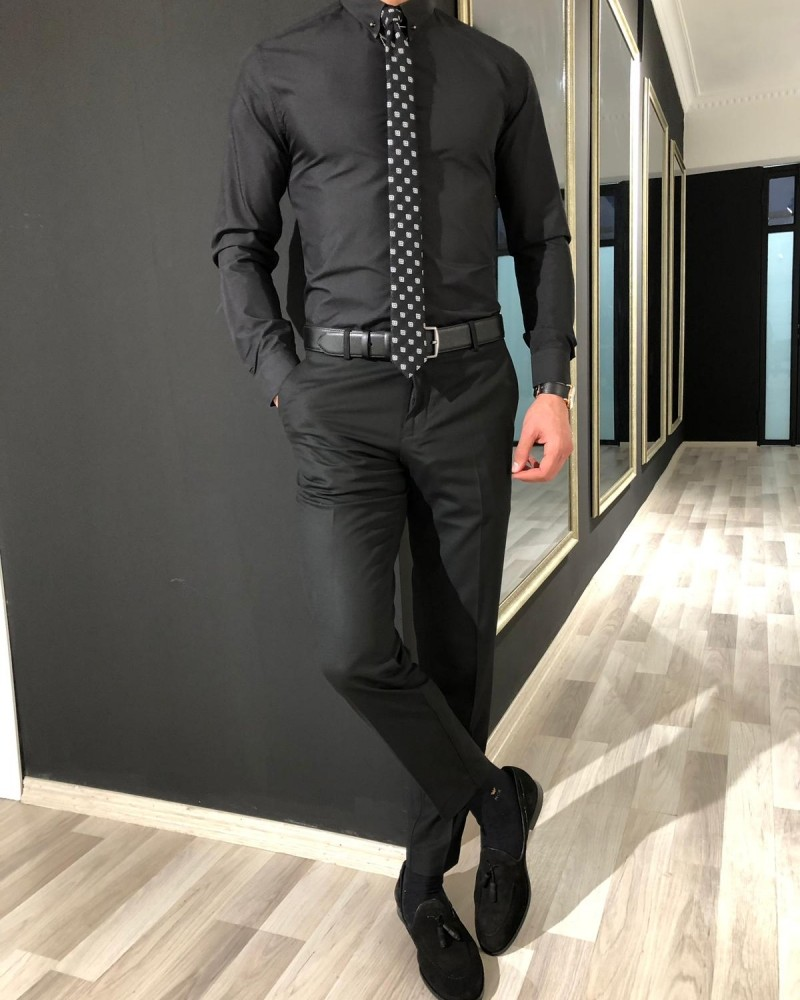 Black Slim Fit Cotton Shirt by Gentwith.com with Free Shipping