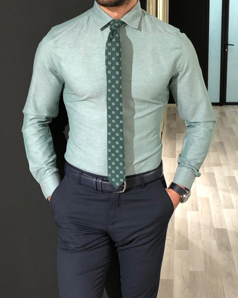 Green Slim Fit Shirt by Gentwith.com with Free Shipping