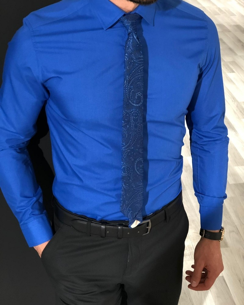 Sax Slim Fit Cotton Shirt by Gentwith.com with Free Shipping