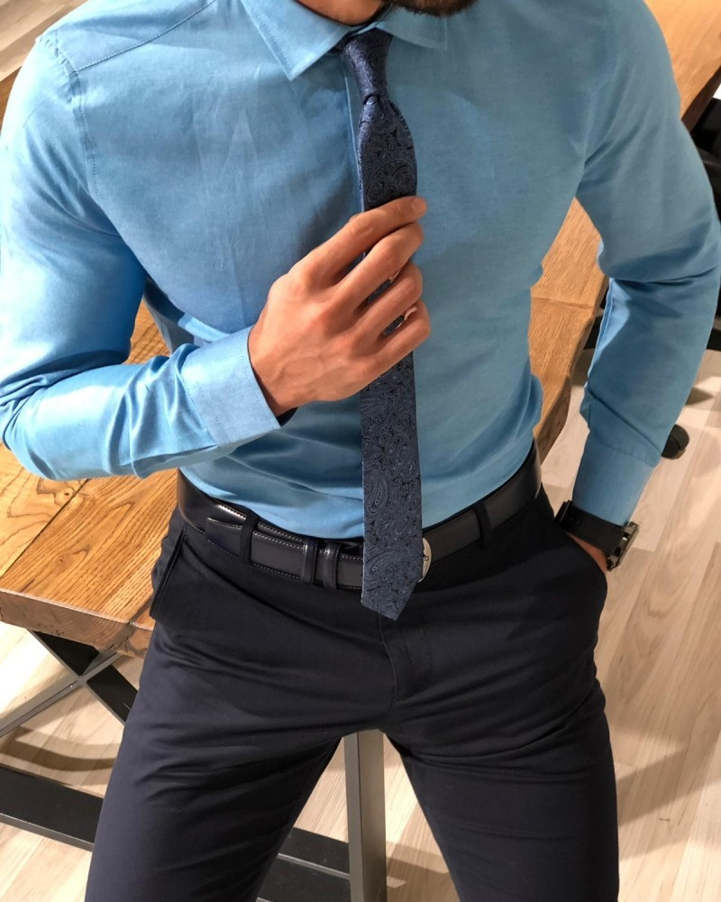 Turquoise Slim Fit Shirt by Gentwith.com with Free Shipping