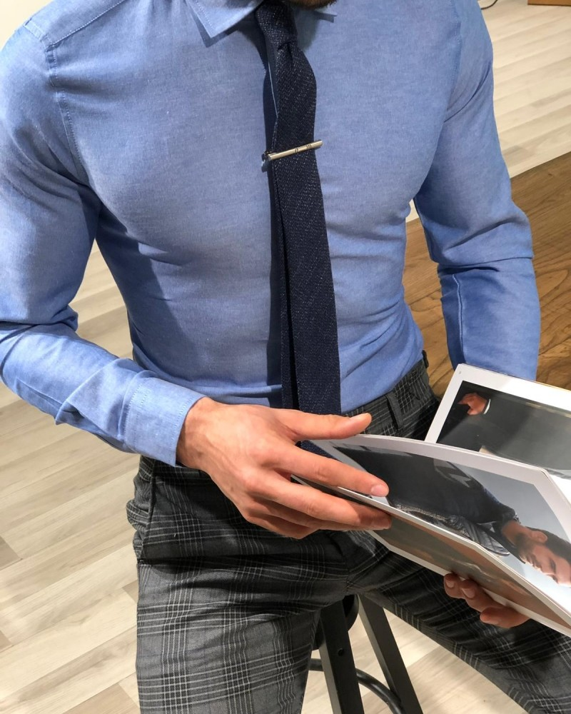 Blue Slim Fit Shirt by Gentwith.com with Free Shipping