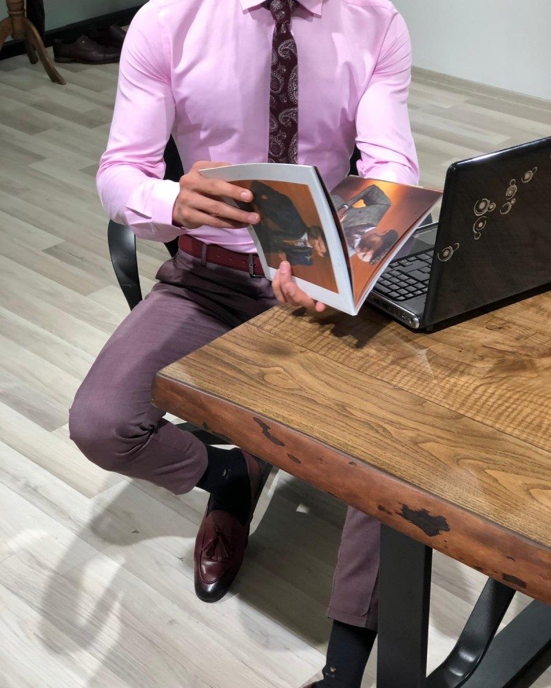 Pink Slim Fit Shirt by Gentwith.com with Free Shipping