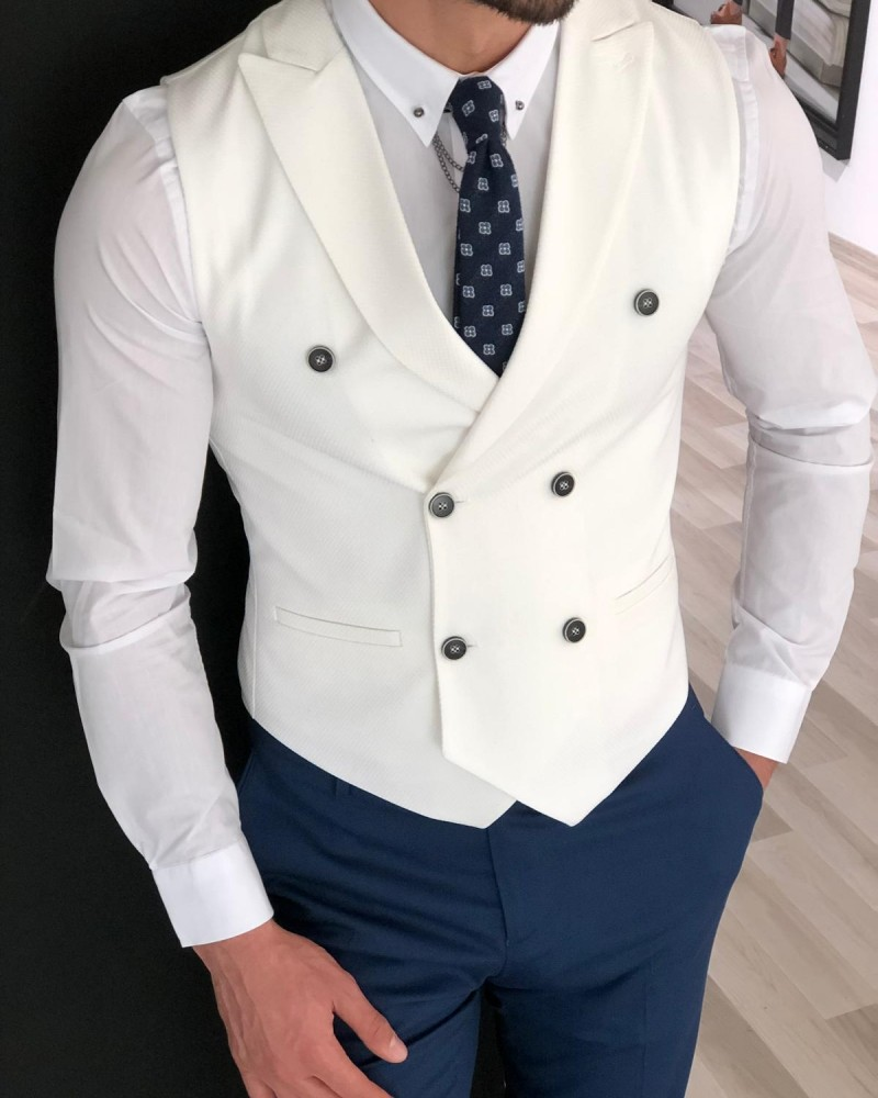 Ecru Slim Fit Double Breasted Vest by Gentwith.com with Free Shipping