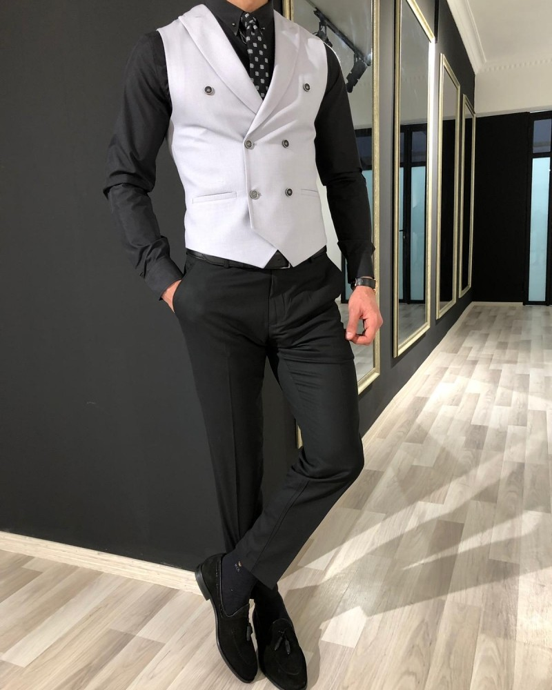 Gray Slim Fit Vest by Gentwith.com with Free Shipping