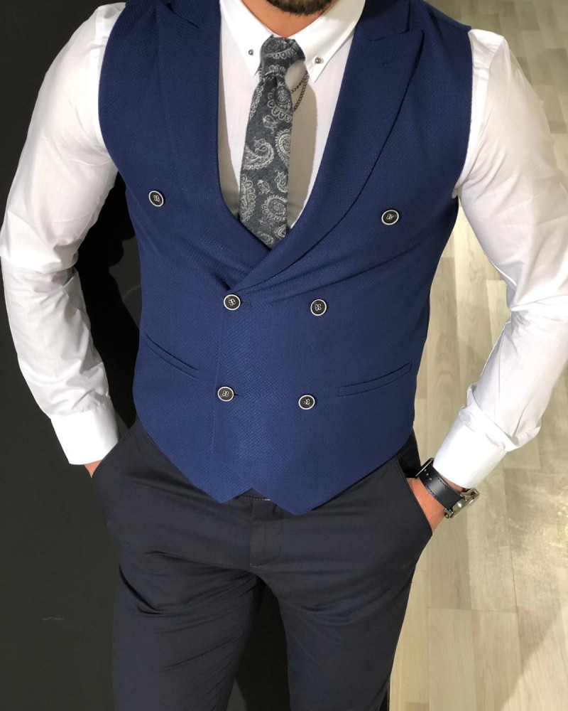 Blue Slim Fit Double Breasted Vest by Gentwith.com with Free Shipping