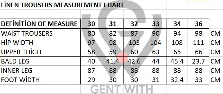 Men's Linen and Cotton Pants Sizing Chart by Gentwith.com with Free Shipping