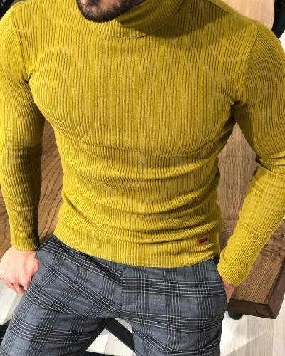 Yellow Turtleneck Sweater by Gentwith.com with Free Shipping