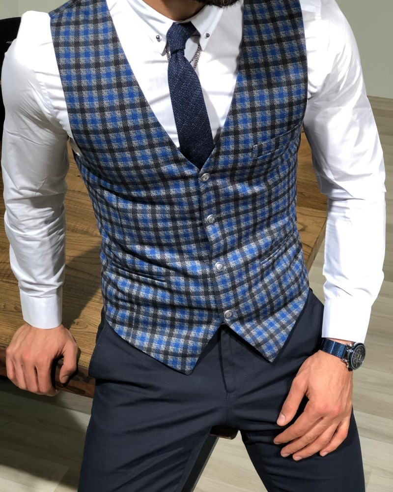 Sax Slim Fit Plaid Vest by Gentwith.com with Free Shipping