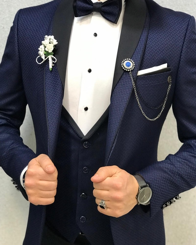 Navy Blue Slim Fit Tuxedo by Gentwith.com with Free Shipping