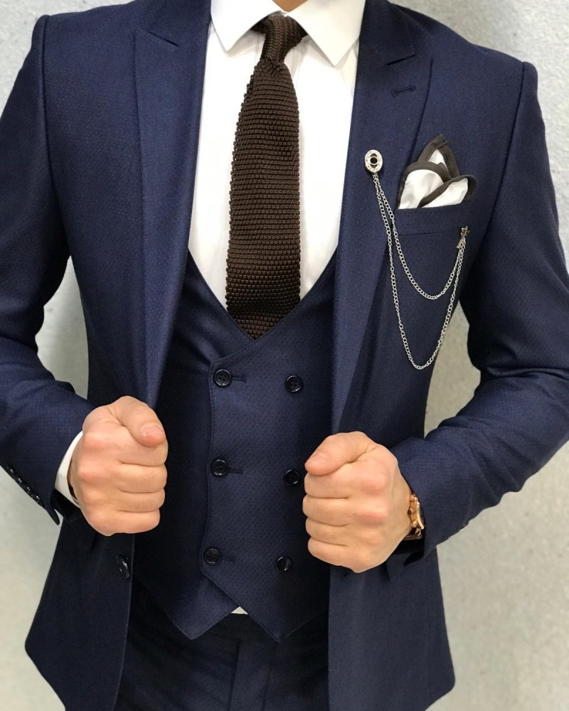 Navy Blue Slim Fit Wool Suit by Gentwith.com with Free Shipping