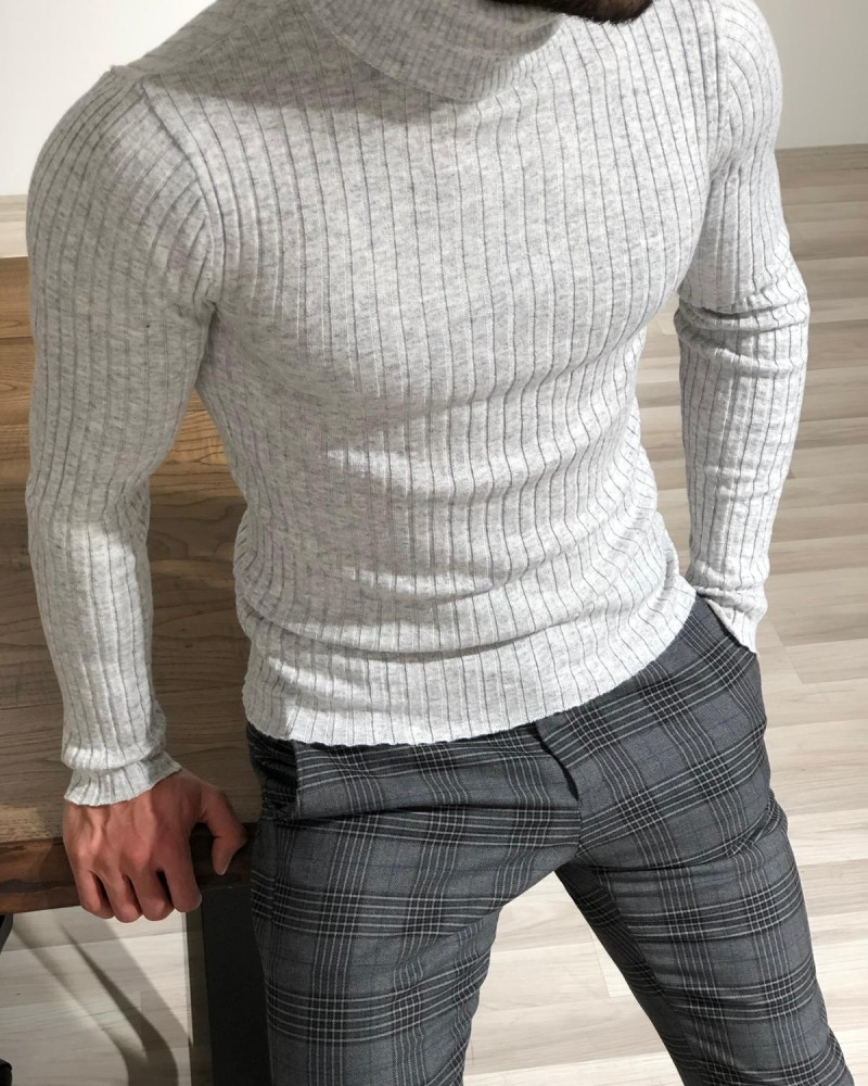 Gray Turtleneck Sweater by Gentwith.com with Free Shipping