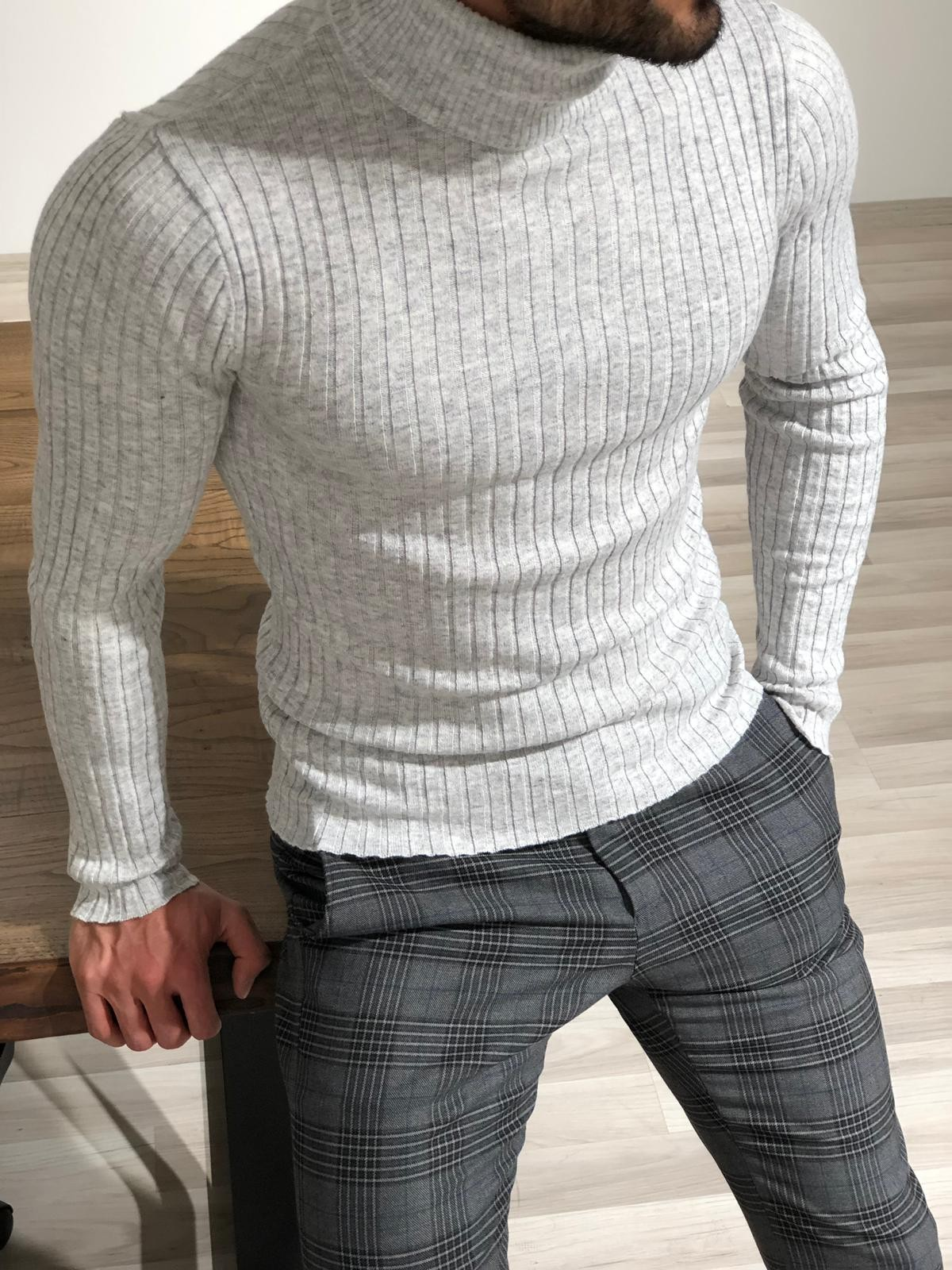 Buy Gray Slim Fit Turtleneck Sweater by with