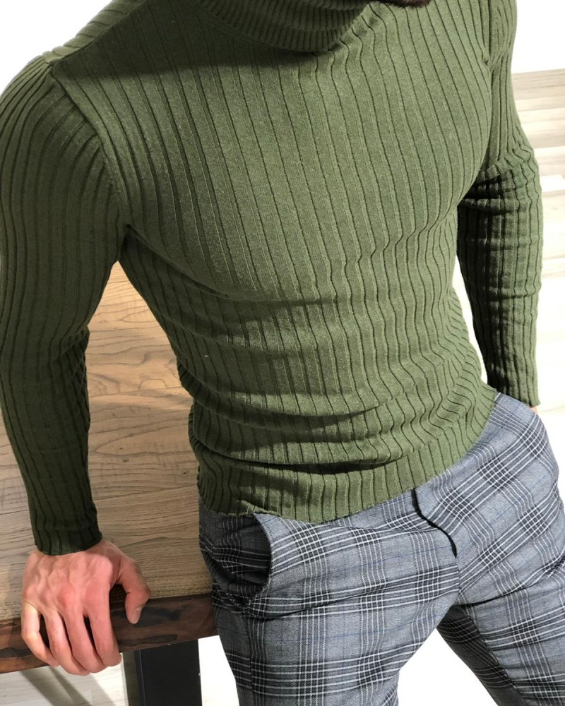 Khaki Turtleneck Sweater by Gentwith.com with Free Shipping