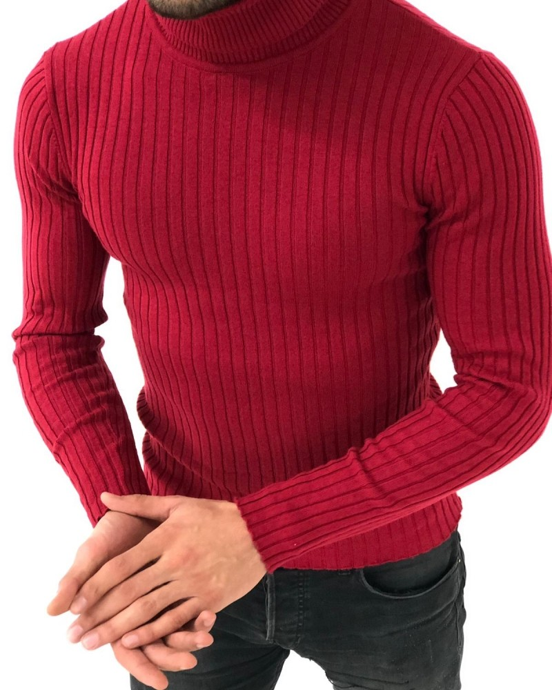 Red Slim Fit Striped Sweater by Gentwith.com with Free Shipping