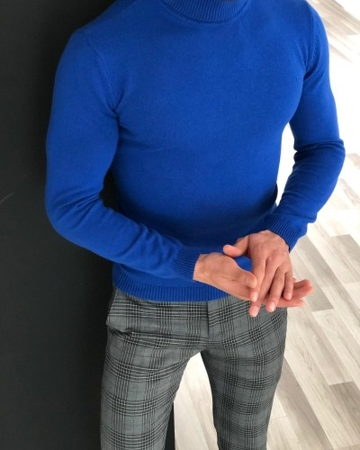 Indigo Turtleneck Sweater by Gentwith.com with Free Shipping