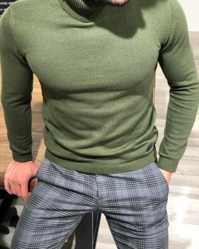 Green Turtleneck Sweater by Gentwith.com with Free Shipping