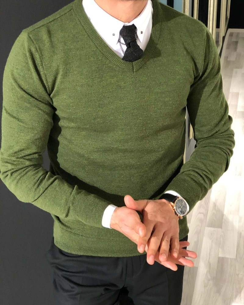 Green Slim Fit Sweater by Gentwith.com with Free Shipping