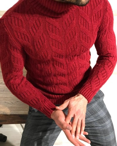 Claret Red Slim Fit Turtleneck Sweater by Gentwith.com with Free Shipping