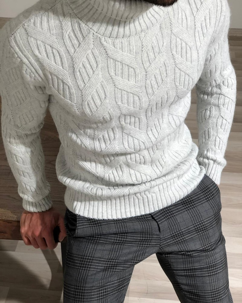 Gray Slim Fit Turtleneck Sweater by Gentwith.com with Free Shipping