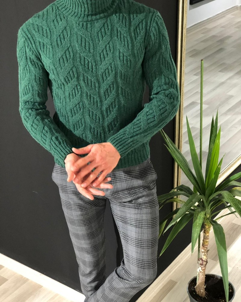 Green Slim Fit Turtleneck Sweater by Gentwith.com with Free Shipping