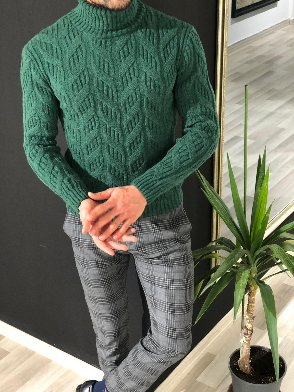 Buy Green Slim Fit Turtleneck Sweater by Gentwith with Free