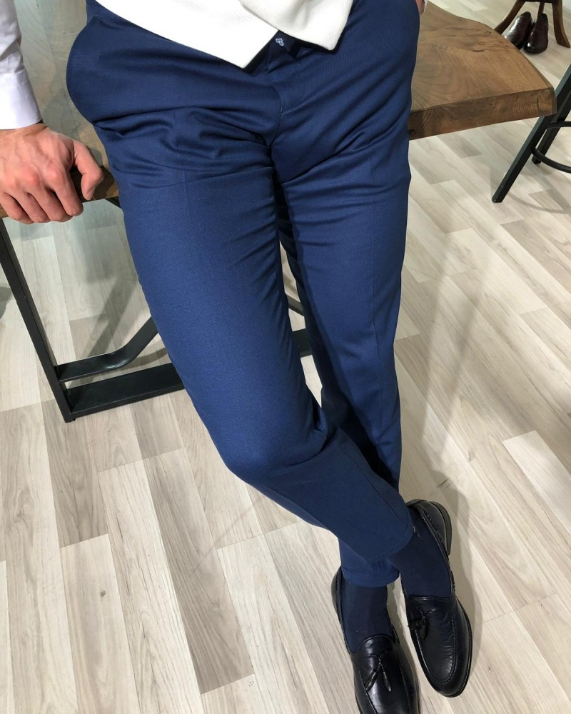 Indigo Slim Fit Pants by Gentwith.com with Free Shipping