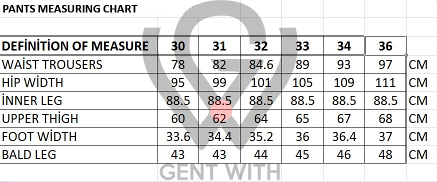 Men's Pants Sizing Chart by Gentwith.com with Free Shipping