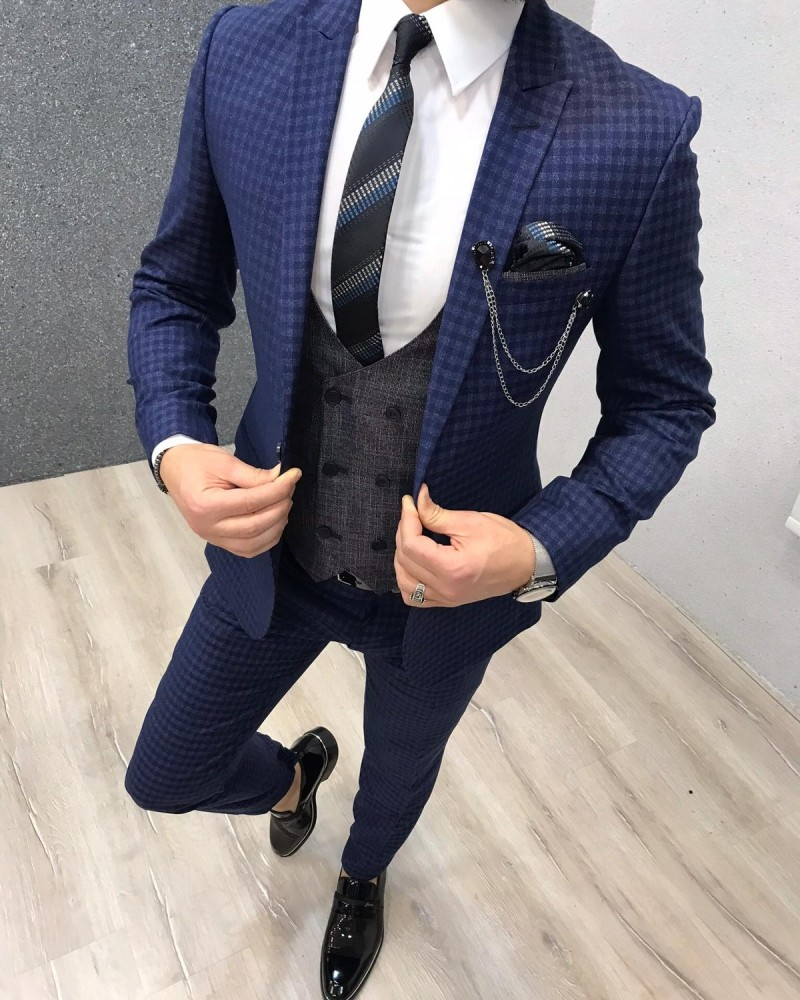 Blue Slim Fit Plaid Wool Suit by Gentwith.com with Free Shipping