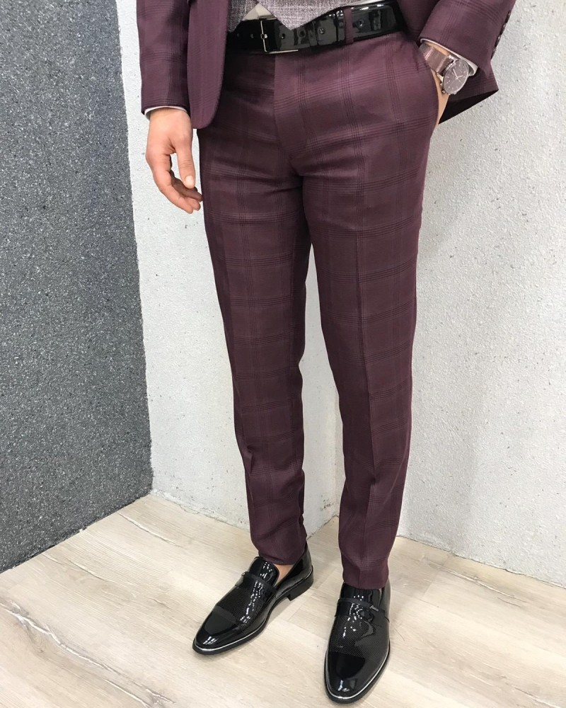Claret Red Slim Fit Plaid Wool Suit by Gentwith.com with Free Shipping