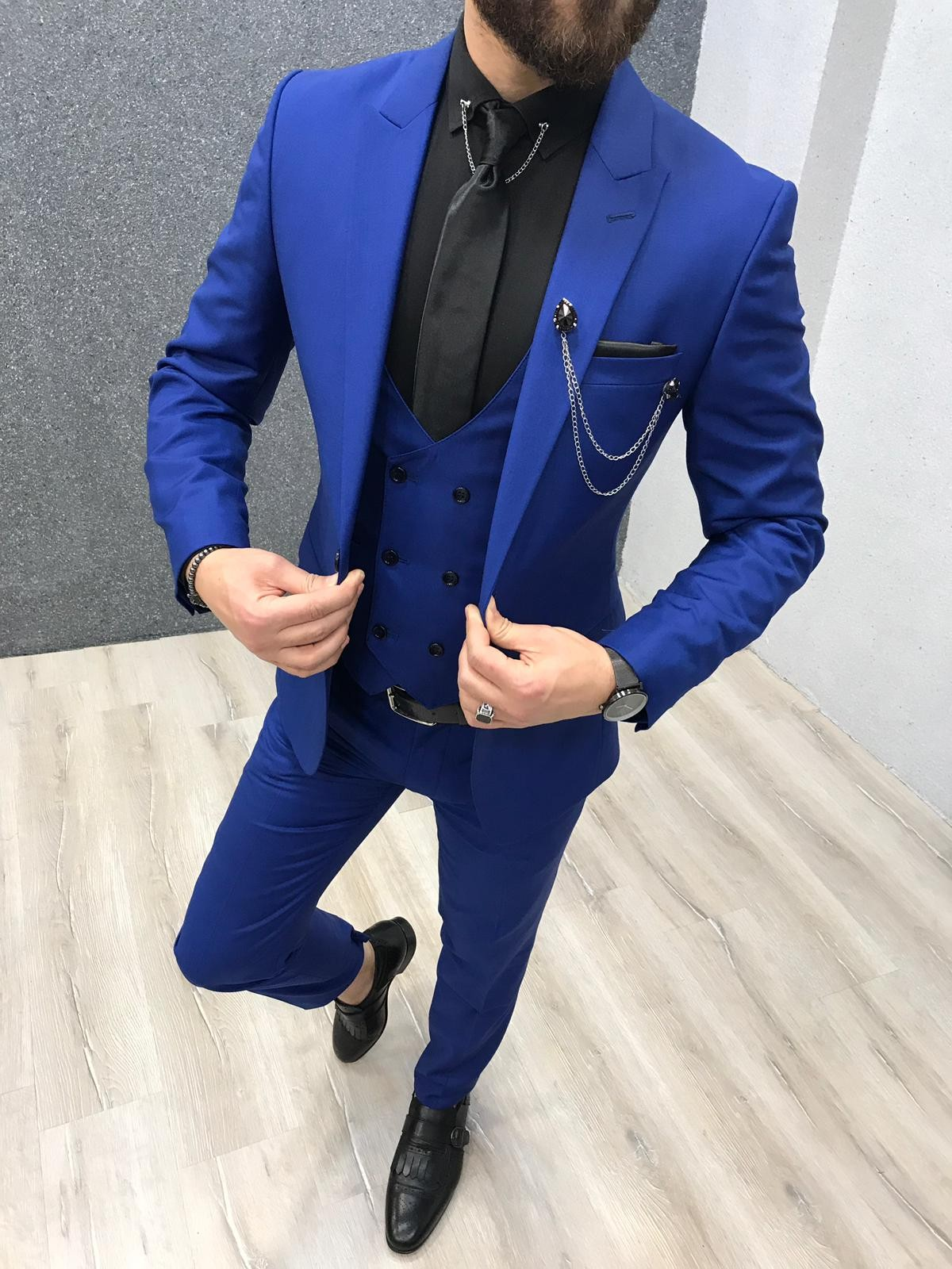 2f6bcffea5b12 Buy Sax Slim Fit Wool Suit by Gentwith.com with Free Shipping
