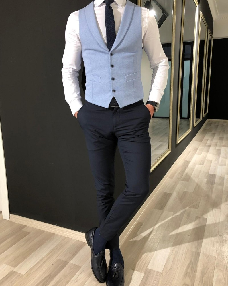 Sky Blue Slim Fit Vest by Gentwith.com with Free Shipping