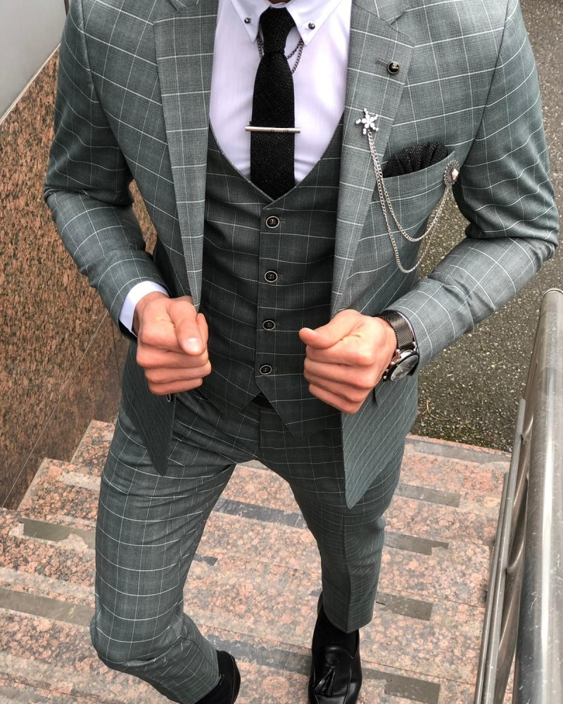 Green Slim Fit Plaid Suit by Gentwith.com with Free Shipping