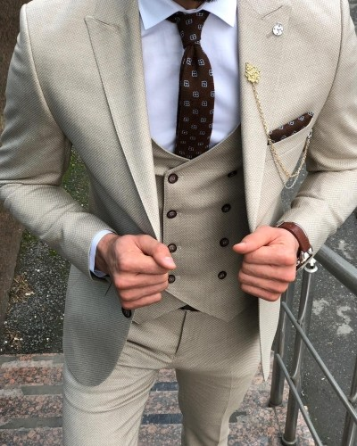 Beige Slim Fit Suit by Gentwith.com with Free Shipping
