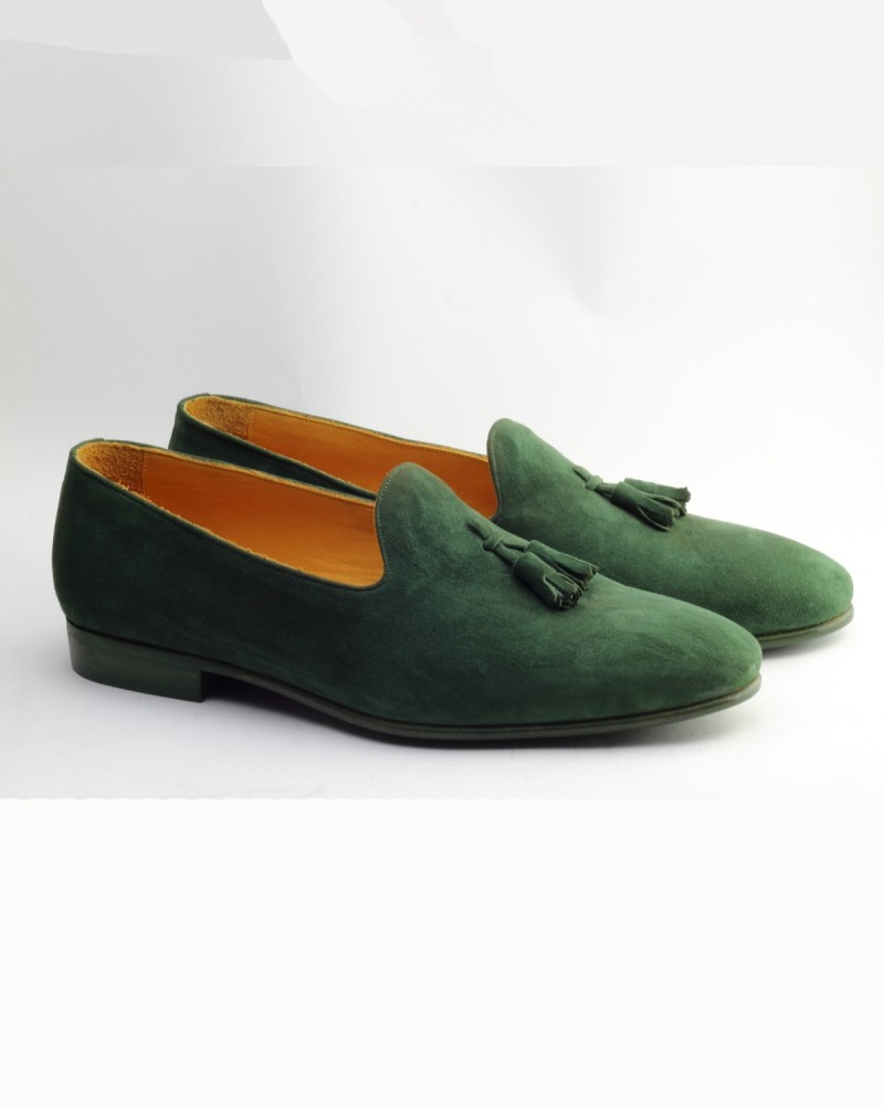 Green Handmade Suede Calf Leather Bespoke Shoes by Gentwith.com with Free Shipping
