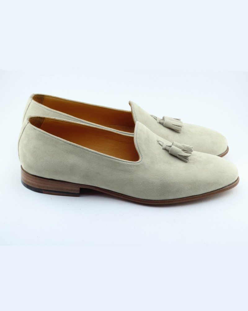 Stone Handmade Suede Calf Leather Bespoke Shoes by Gentwith.com with Free Shipping