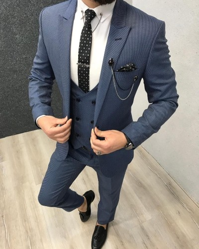 Blue Slim Fit Suit by Gentwith.com with Free Shipping