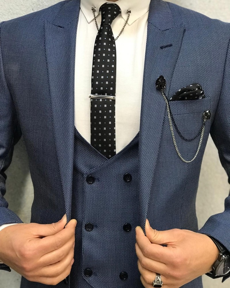 Blue Wool Suit by Gentwith.com with Free Shipping