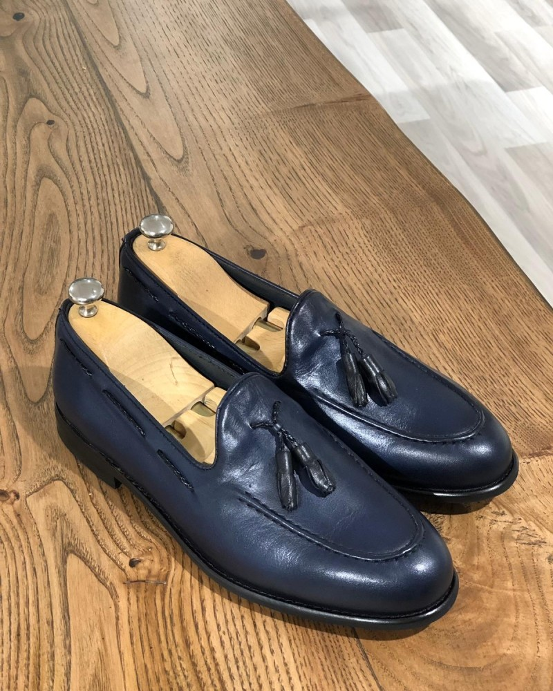 Navy Blue Tassel Loafer by Gentwith.com with Free Shipping