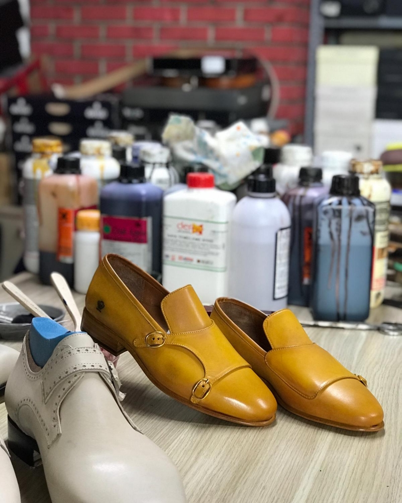 Handmade Yellow Genuine Leather Double Monk Strap Loafers by GentWith.com with Free Worldwide Shipping