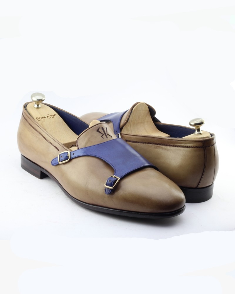 Camel Handmade Calf Leather Bespoke Shoes by Gentwith.com with Free Shipping