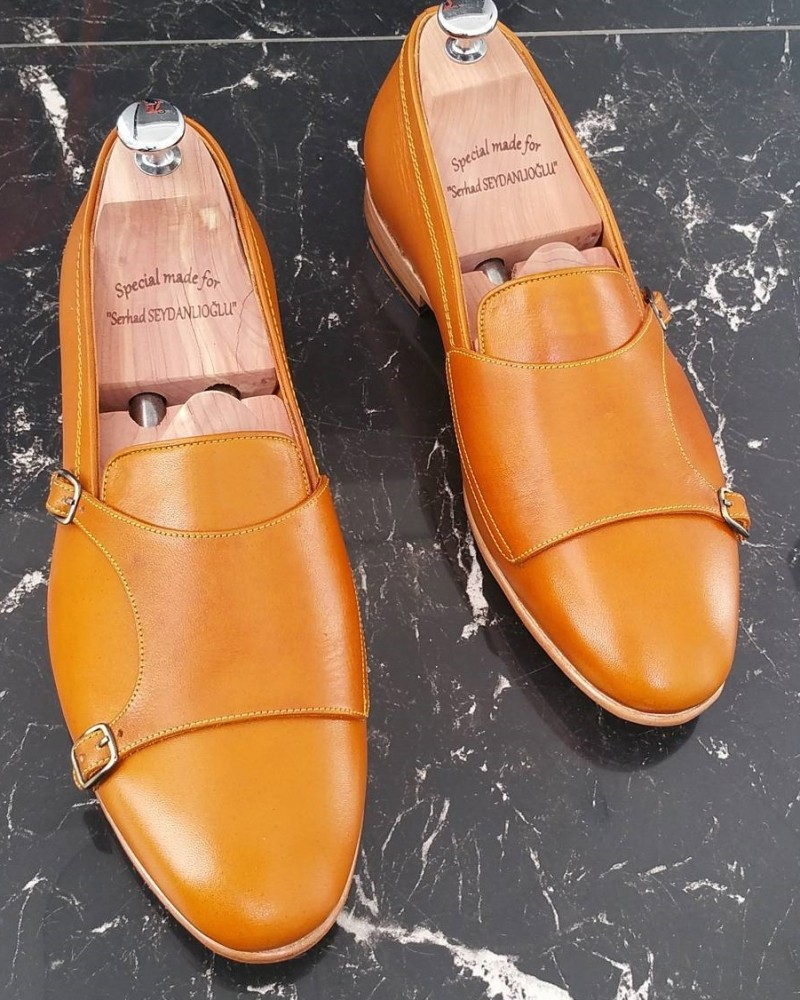 Brown Handmade Calf Leather Bespoke Shoes by Gentwith.com with Free Shipping