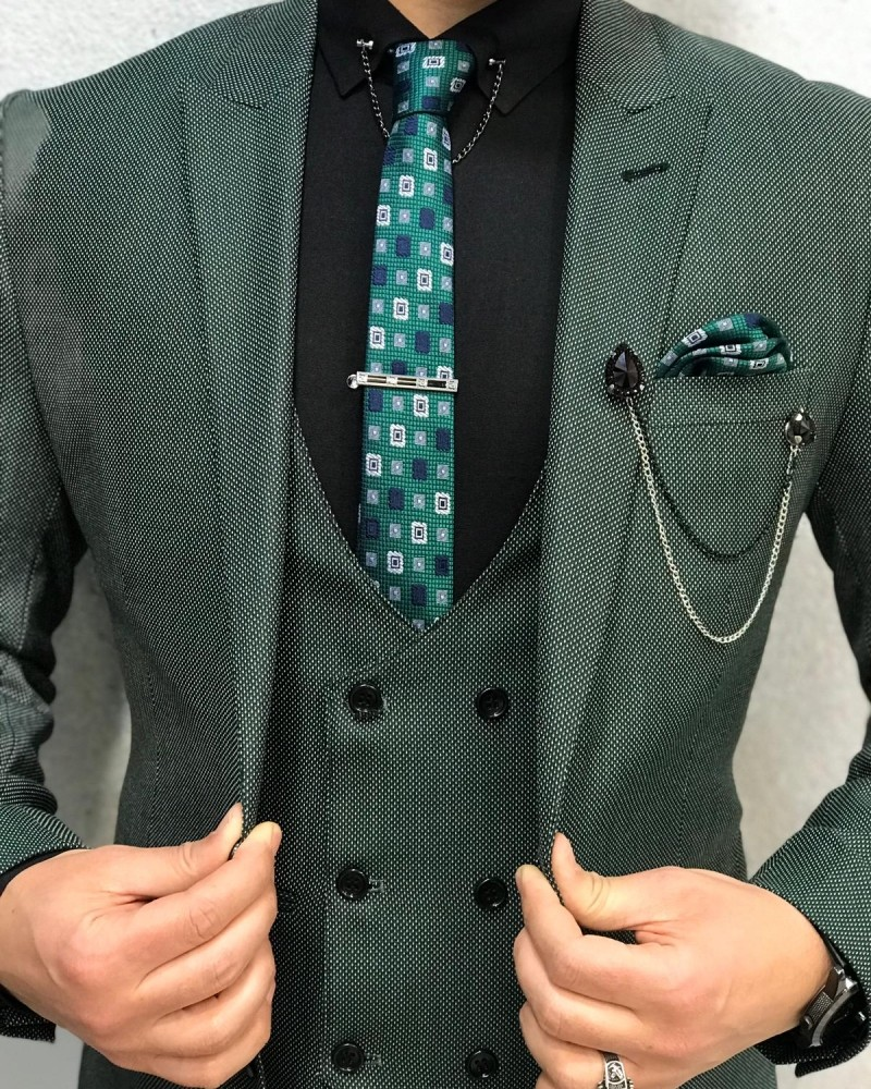 Green Wool Suit Men by Gentwith.com with Free Shipping